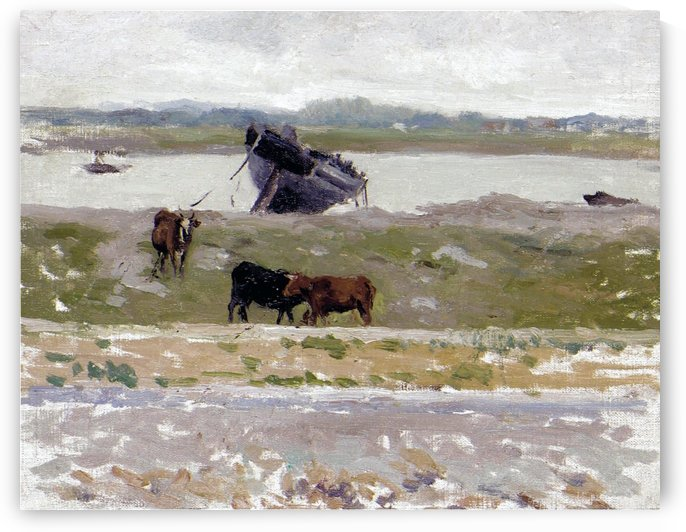 The Cows near an Old Boat, Etaples by Henri Le Sidaner