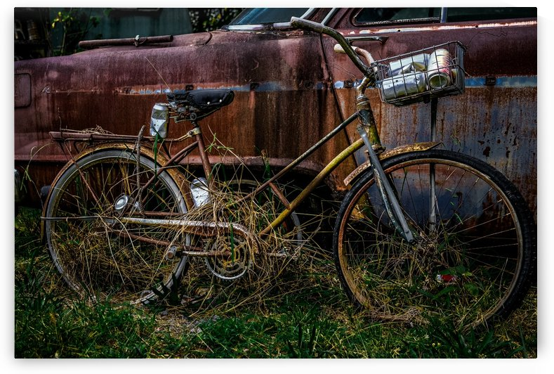 Old Bike with Coke Cans by Darryl Brooks