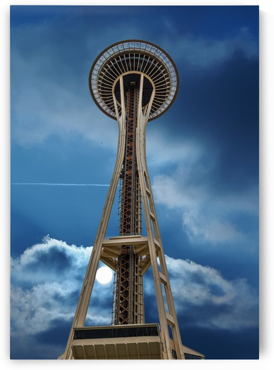 Space Needle on Cloudy Night by Darryl Brooks