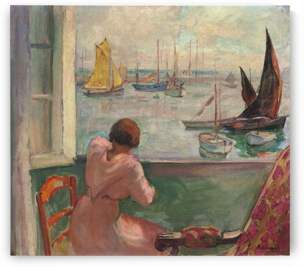 Young Woman by the Window Viewing to the Isle of Yeu by Henri Lebasque