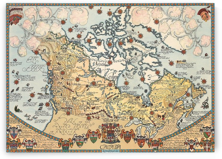 Pictorial map of Canada by AmilenaCollection
