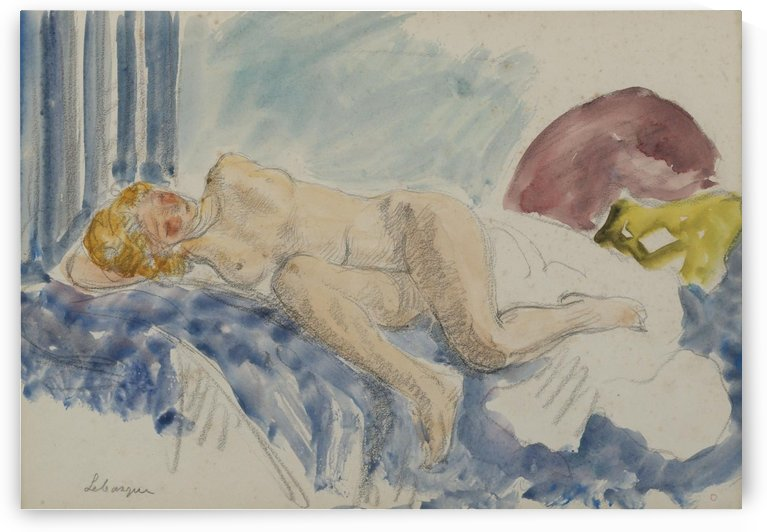 Young Woman on Blue Sofa by Henri Lebasque