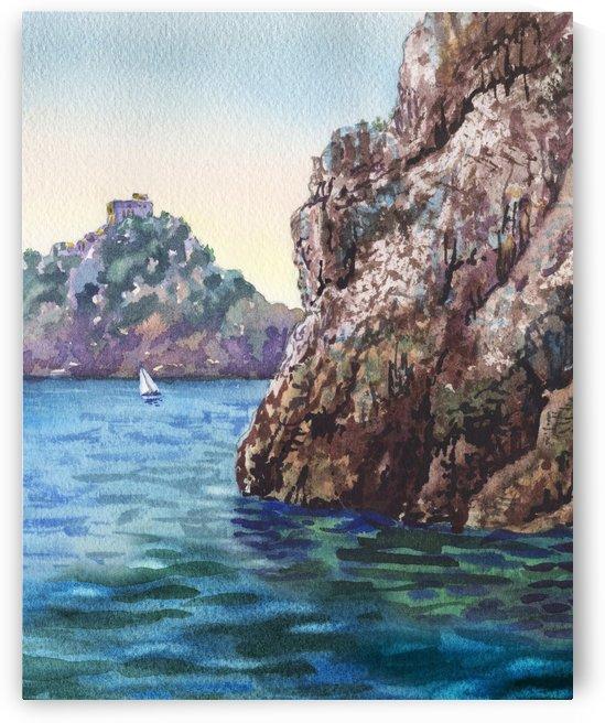 Seascape Harbor Rocky Shore Watercolor Painting by Irina Sztukowski