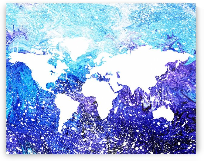 Watercolor Silhouette World Map Global Cooling  by Irina Sztukowski