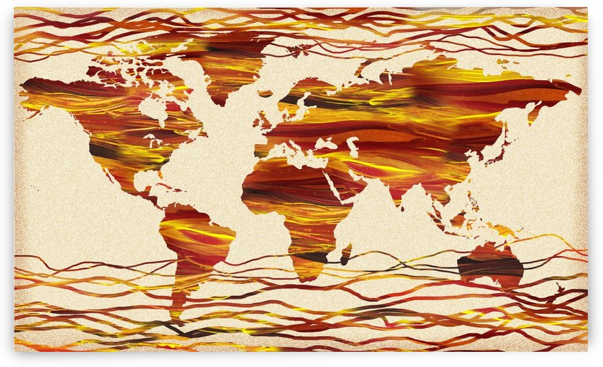 Watercolor Silhouette World Map Brown Beige Waves  by Irina Sztukowski