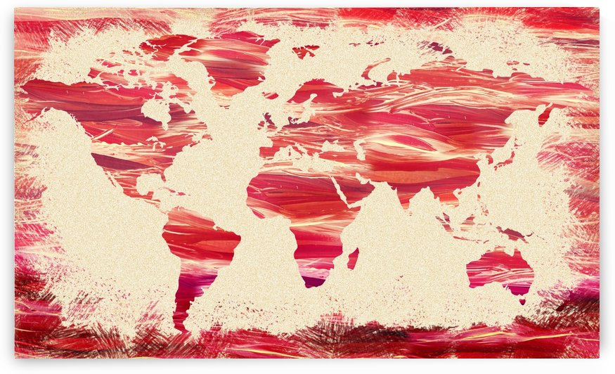 Watercolor Silhouette World Map Pink Terra by Irina Sztukowski