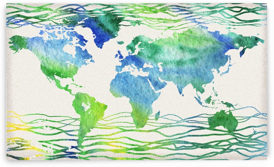 Watercolor Silhouette World Map Blue Green Wave  by Irina Sztukowski