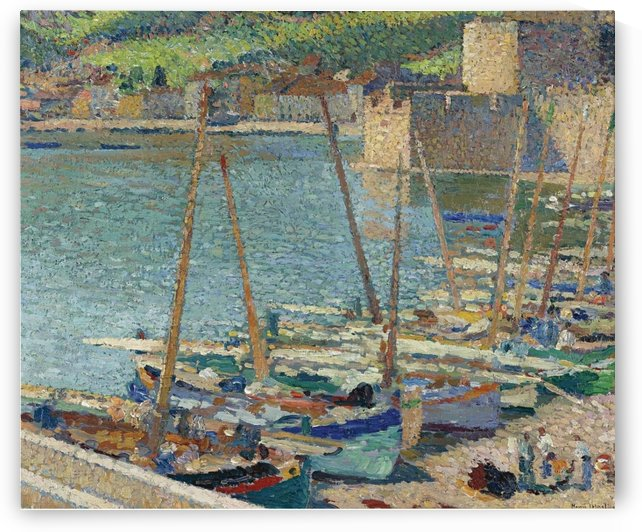 Fishing Boats on the Shore at Collioure by Henri Martin