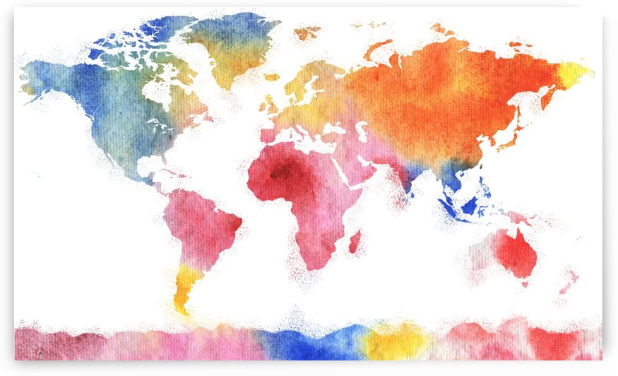 Watercolor Silhouette World Map Rainbow Sea by Irina Sztukowski