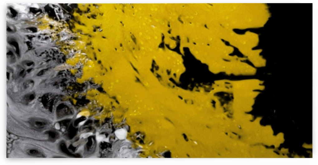 Gold Splash cross section - black silver gold paint splatter abstract panoramic wall art by Jaycrave Designs