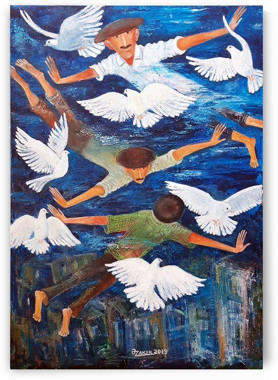 59.DOVES OF OUR STREET 2019year 95x65cmOriginal Painting Oil on Canvas. 8500$ by ZAKIR AHMEDOV