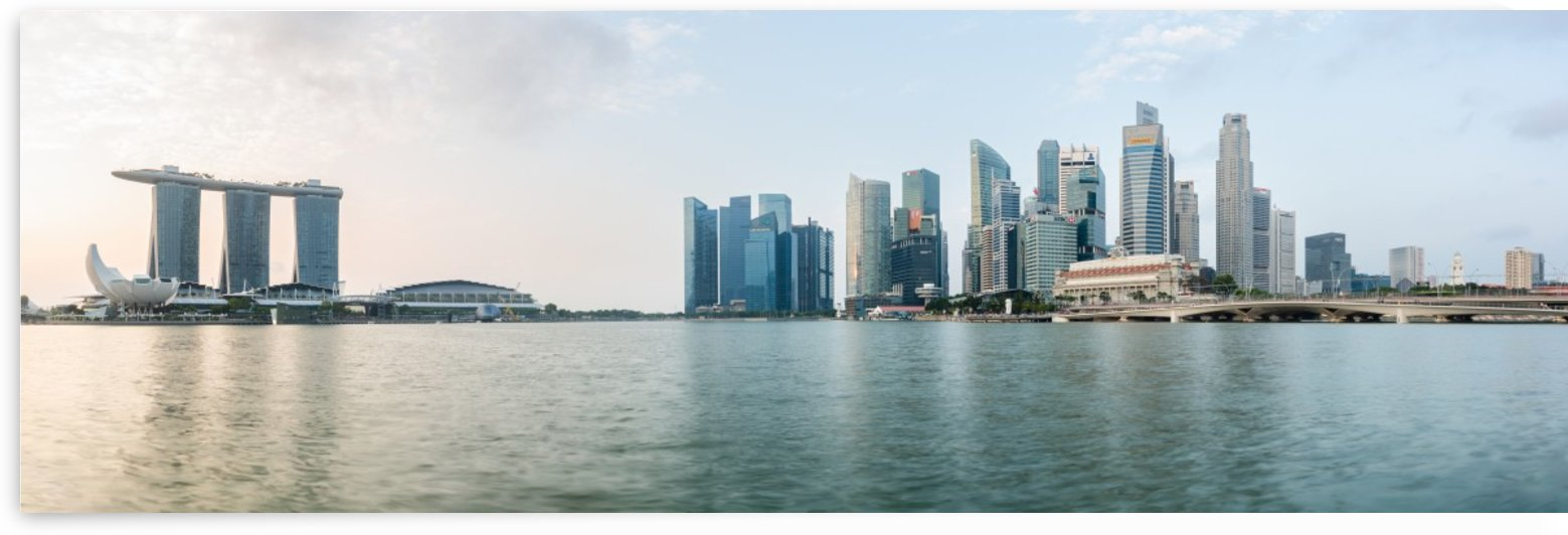 Panorama of Singapore skyline at sunrise by Em Campos