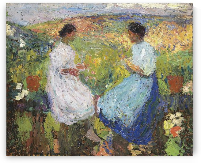 Two Women Sitting Face to Face on the Stoned Balustrade by Henri Martin