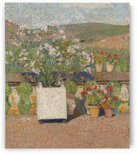 Flower Box with Rose-Bush and Pots with Geranium on the Terrace of... by Henri Martin