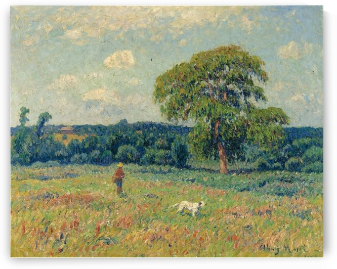 Landscape with a Hunter and His Dog by Henry Moret