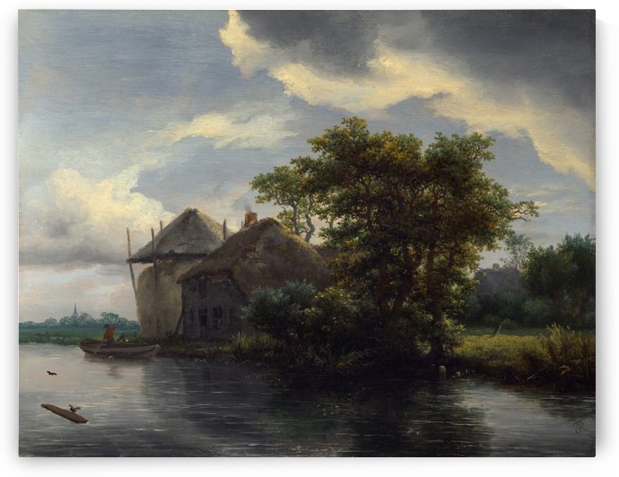 A Cottage and a Hayrick by a River by Jacob Van Ruisdael