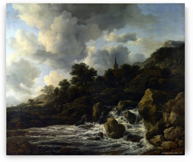 A Waterfall at the Foot of a Hill, near a Village by Jacob Van Ruisdael