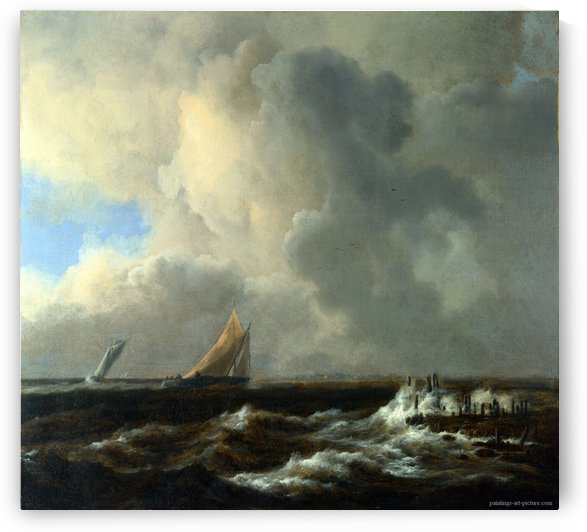 Vessels in a Fresh Breeze by Jacob Van Ruisdael