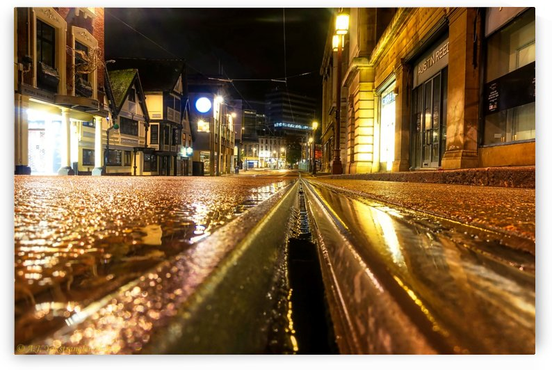 Wet tram rail by Andy Jamieson