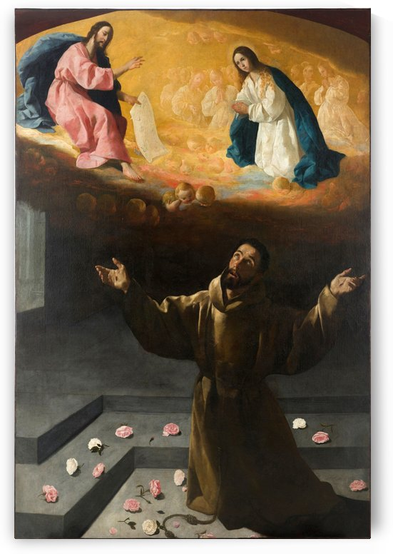 Saint Francis of Assisi and two angels by Francisco de Zurbaran
