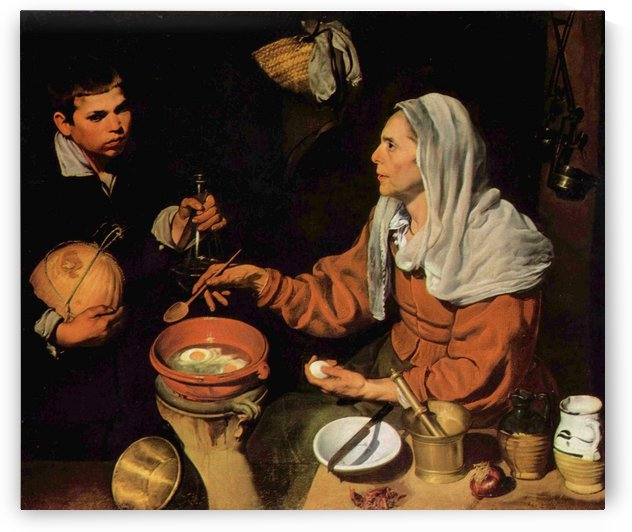 An old woman cooking eggs by Francisco de Zurbaran