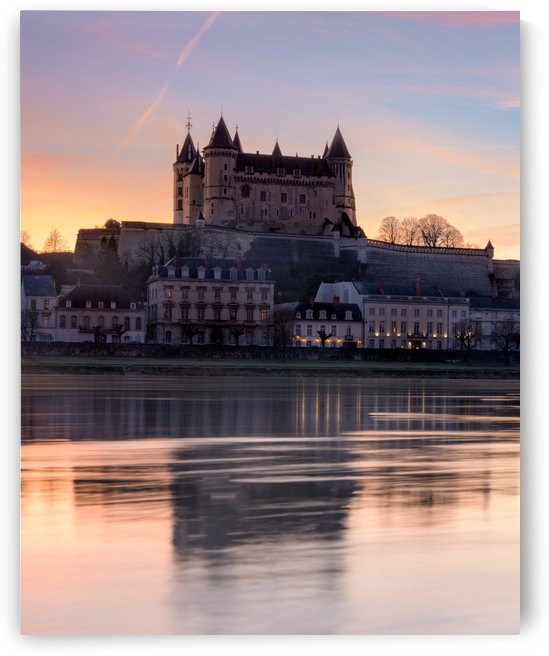 Saumur castle and the Loire river at sunset by Em Campos