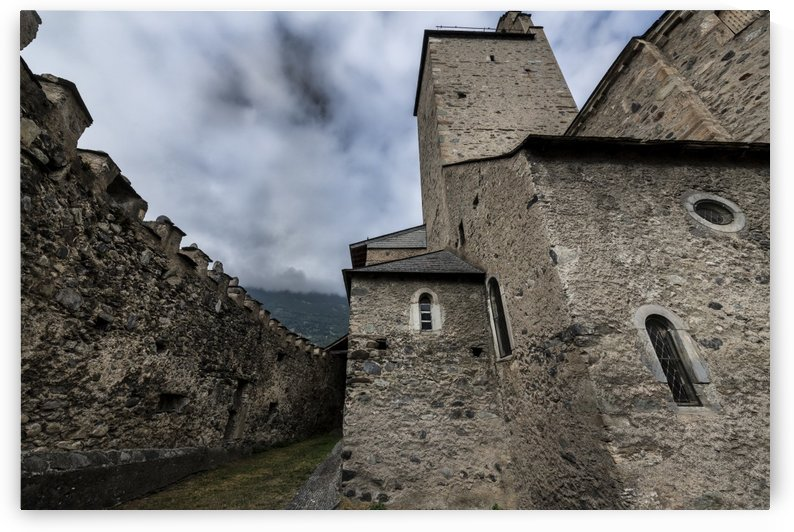 Fortified medieval church of the Templars situated in the french Pyrenees mountains by Gerald Cummins