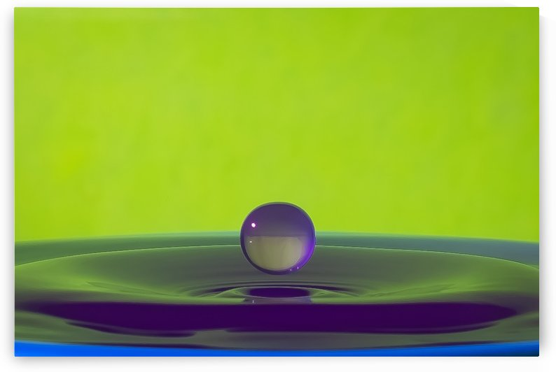 Floating Water Drop Purple and Green by genellephotography