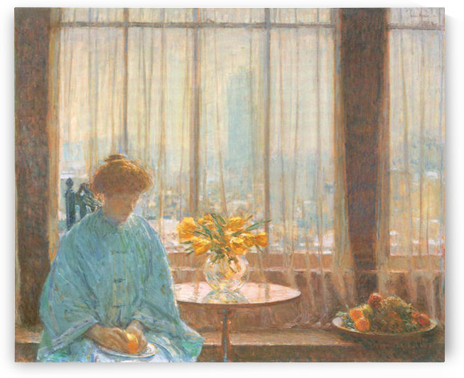 The breakfast room, winter morning by Hassam by Hassam