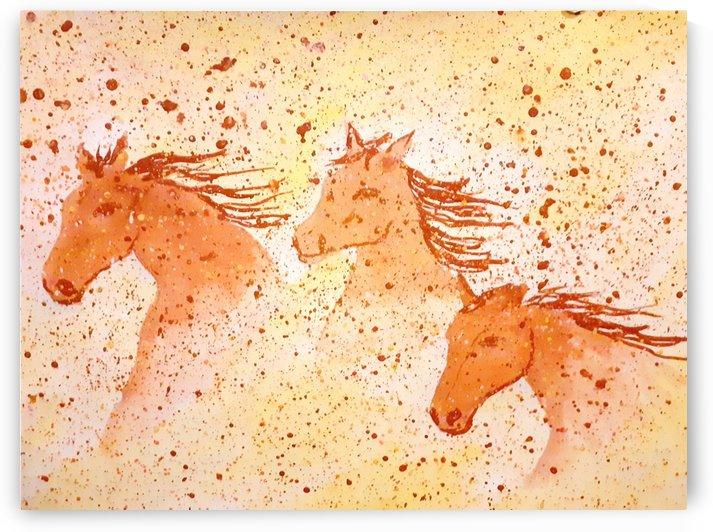 Three horses run in the desert  by Maltez