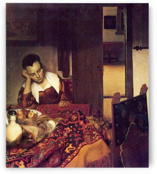 A woman asleep by Vermeer by Vermeer