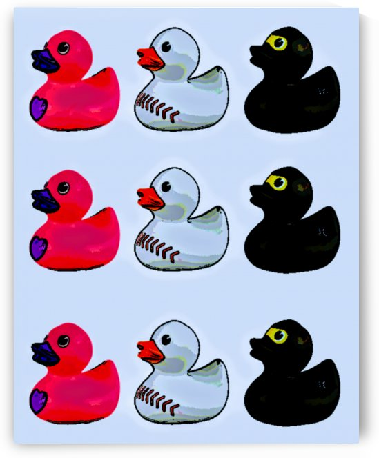 rubber duckies 3 x 3 by Bratty ART