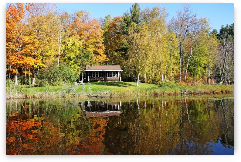 Log Cabin In Fall Woods by Deb Oppermann