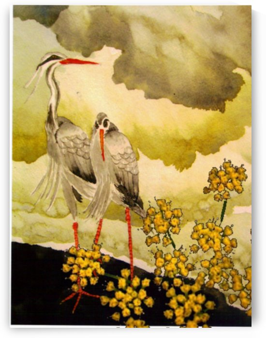 birds and flower bush by Donna Stares