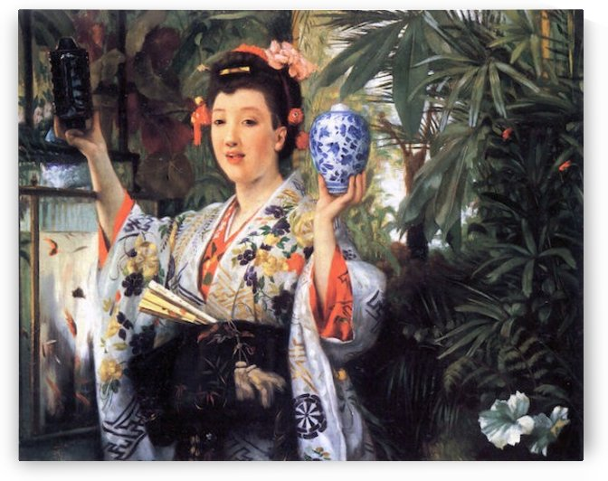 A young woman holds Japanese goods by Tissot by Tissot