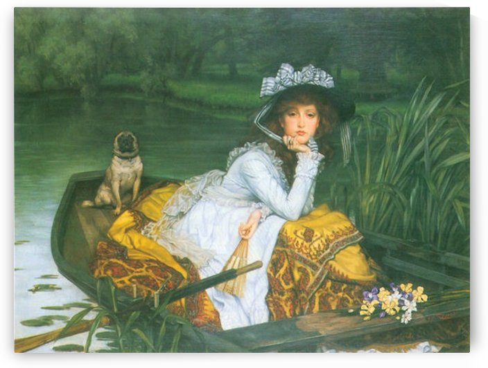 A young woman in a boat by Tissot by Tissot