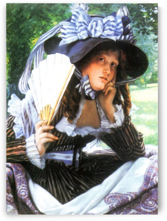 A young woman with a fan by Tissot by Tissot