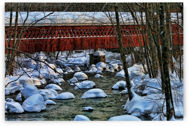 Covered Bridge in Winter by Mona Martin