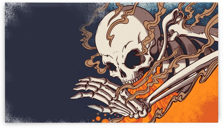 Horror Themed Art Skeleton With Fire  by Smithson