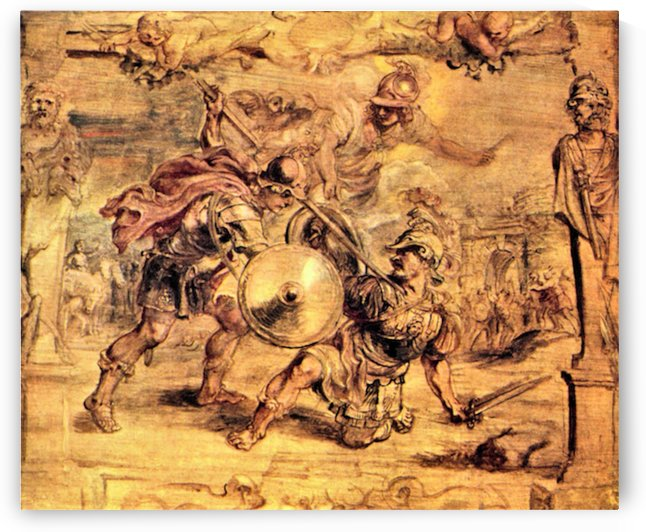 Achilles defeats Hector by Rubens by Rubens