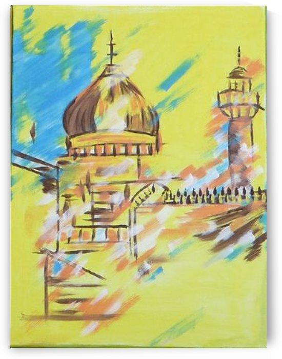 Ahson_Qazi_Geometrical_Islamic abstract artahson_qaziShades_of_DivinityIslamic_Artstretched canvass 12x16 by Ahson Qazi