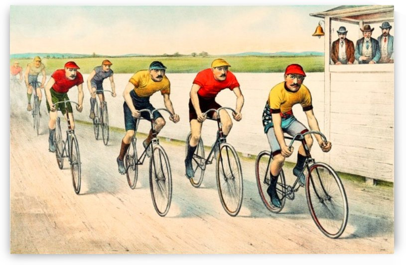 Men Bicycle Riding Vintage Drawing   by Smithson