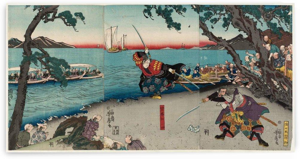Painting of a duel by Miyamoto Musashi