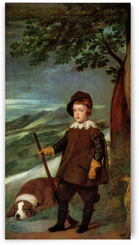 Prince Balthasar Carlos dressed as a hunter by Diego Velazquez