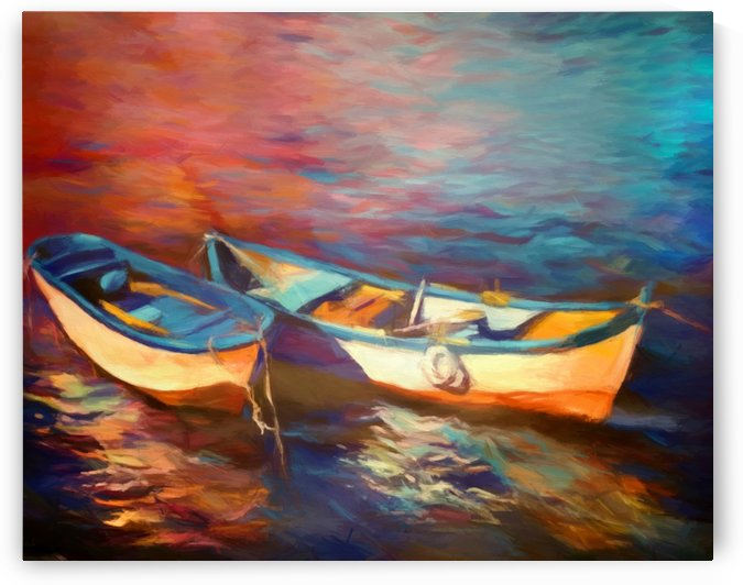 Canoes on the lake by Angel Estevez