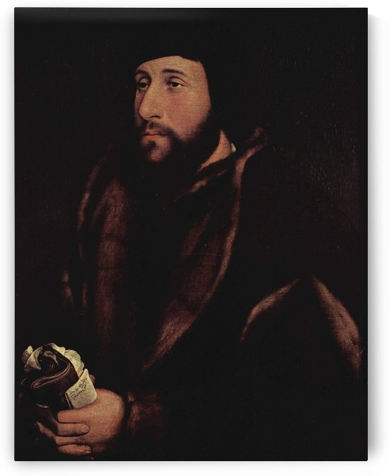 Portrait of a man with a letter and gloves by Hans Holbein