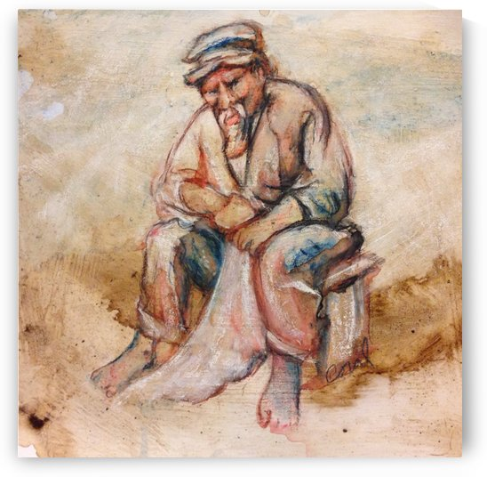 old man in coffee inktense and chalk by Coral Staley