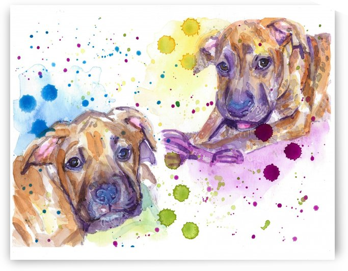 2 Colorful Dogs Brindle - Portrait of Emma and Louis by Marie Santos - M Santos Art