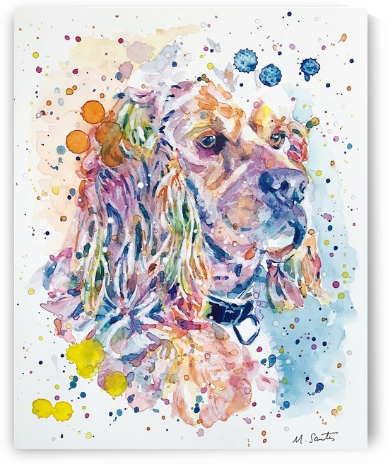 Cocker Spaniel Dog - Portrait of Charlie by Marie Santos - M Santos Art