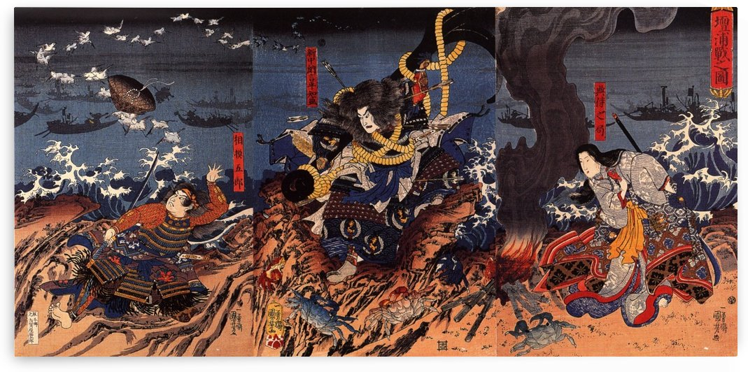 Tamomori tied to a huge anchor ready to cast himself into the sea by Utagawa Kuniyoshi